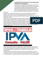 Da Alíquota Diferenciada No IPVA De Autos Com Diferentes Combustíveis E O Princípio Da Equidade