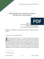 ¿Ontología fundamental o teoría del conocimiento? Heidegger crítico del Neokantismo