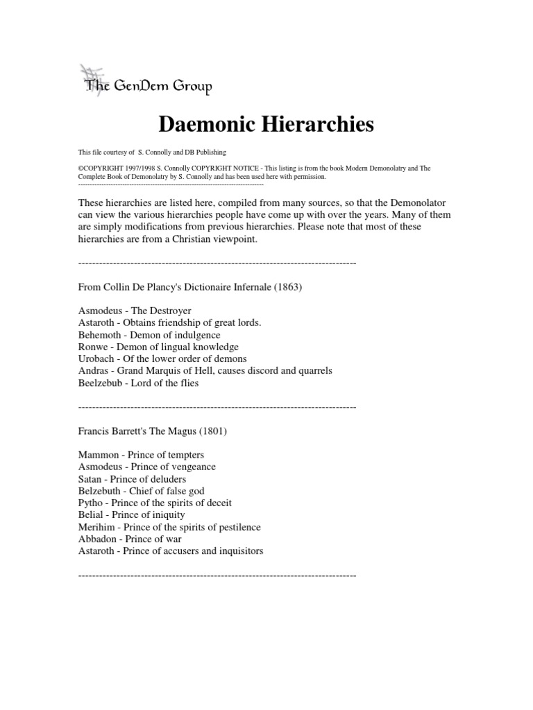 hierarchy of demons | Demons | Seven Deadly Sins