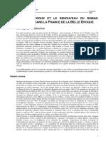 GASTON LEROUX ET LE RENOUVEAU DU ROMAN POPULAIRE DANS LA FRANCE DE LA BELLE EPOQUE