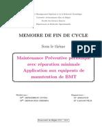 Maintenance Préventive Périodique Application Aux Équipent de Avec Réparation Minimale Manutention de BMT