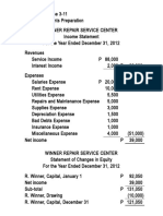 Solution to Exercise 3-11 - Financial Statements Preparation (Winner Repair Service Center)