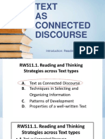 Comptency 1 Describing Written Text as Connceted Discourse