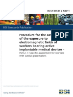 Procedure for the assessment of the exposure to electromagnetic fields of workers bearing active implantable medical devices.
