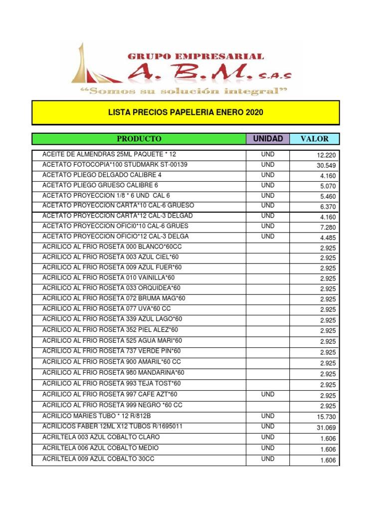 LISTA PRECIOS GRUPO ABM PAPELERIA ENERO 2020.pdf | Materiales artisticos |  Arco iris