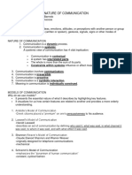 Nature of Communication Report Handouts Example