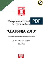 Bases Clausura Grand Prix 2010