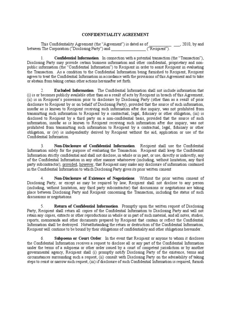 Generic Nda Non Disclosure Agreement Confidentiality
