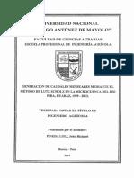 GERACION DE CAUSALES MENSUALES MEDIANTE EL METODO DE LUTZ SCHOLZ EN LA MICROCUENCA DEL RIO PIRA,HUARAZ ,1999-2013