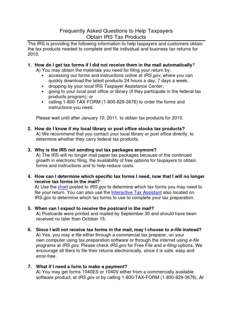 Faqs for Tax Forms 102510 | Internal Revenue Service | Tax