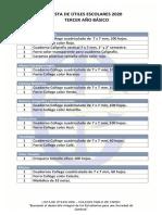 lista de útiles 3° básico 2020