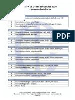 lista de útiles 5° básico 2020