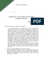 Pluralismo y Proscripcion de Partidos Antidemocraticos