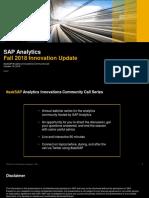 SAP Analytics Innovationen Herbst 2018