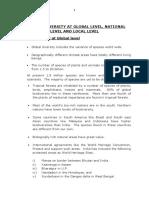 15) Unit II  - II (H) Biodiversity at Global level, National level and Loca