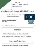 Lec 3 AV 203 - Impedance, Admittance & Kirchhoff Laws.pptx