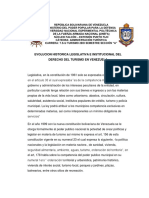 Evolucion Historica Legislativa e Institucional Del Derecho Del Turismo en Venezuela