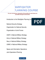 Warfighter Planning Course