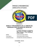MANEJO Y PROCEDIMIENTO DE LA LÁMPARA DE HENDIDURA PARA USUARIOS DE LENTES DE CONTACTO