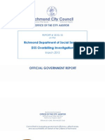Richmond Department of Social Services, DSS Overbilling Investigation, City Auditor, March 2010.