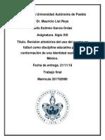 Revisión ahistórica del uso del cuerpo en fútbol como disciplina educativa para la conformación de una identidad nacional en México.