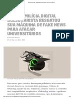 Máquina de fake news bolsonarista agora mira universitários