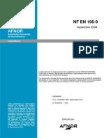 NF EN 196-9  CHALEUR D'HYDRATATION