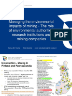 Managing the enviromental impacts of minig - Finland