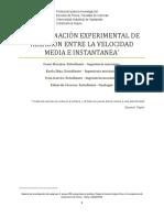 DETERMINACIÓN EXPERIMENTAL DE RELACIÓN ENTRE LA VELOCIDAD MEDIA E INSTANTANEAInforme lab1