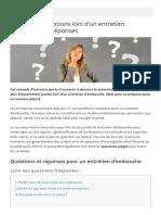 Top 10 des Questions lors d'un Entretien d'Embauche + Réponses