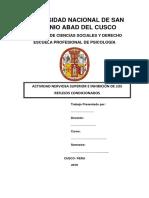 Monografia de Actividad Nerviosa Superior e Inhibición de Los Reflejos Condicionados