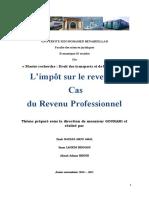 l'impôt sur le revenu Cas du Revenu Professionnel