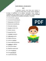 frases minimas y vocabulario 6to - copia