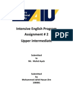 Intensive English Program Assignment 2 Upper Intermediate