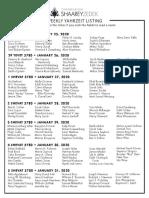 January 25, 2020 Yahrzeits List