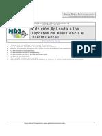 NUTRICION APLICADA EN DEPORTES DE RESISTENCIA E INTERMITENTE