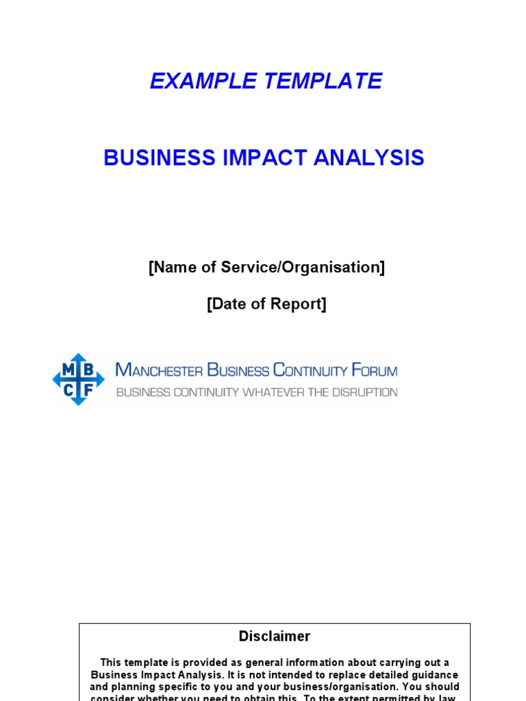 Mbcf Bia Template Final1 Business Continuity Risk