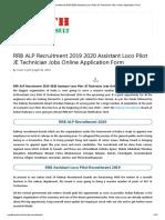 RRB ALP Recruitment 2019 2020 Assistant Loco Pilot JE Technician Jobs Online Application Form