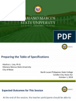 Preparing the Table of Specifications