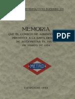 Memoria 1923 Metro de Madrid