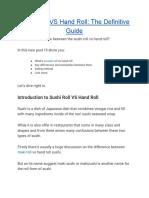 Sushi Roll VS Hand Roll