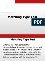 Assessment Matching and True or False Type Test