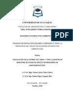 APLICACION DE NORMAS ISO14064-1 PARA CUANTIFICAR EMISIONES DE GASES