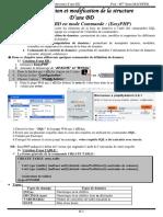 Création et modification de la structure de base de données
