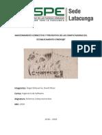 MANTENIMIENTO CORRECTIVO Y PREVENTIVO DE LAS COMPUTADORAS DEL ESTABLECIMIENTO CYBERC