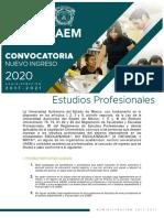 Convocatoria nuevo ingreso UAEMex Estudios profesionales