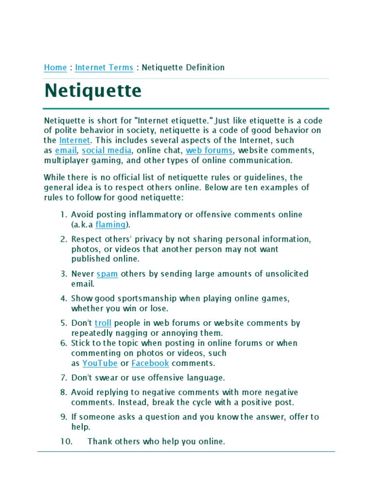 Etiquette examples of internet Proper Internet