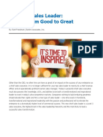 The new sales leader - moving from good to great