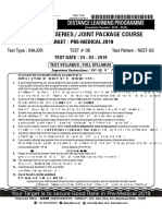 Allen NEET-UG Major Test Paper 6 with solutions Date 24-03-2019