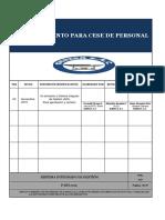P-RH-002, Procedimiento para cese de personal